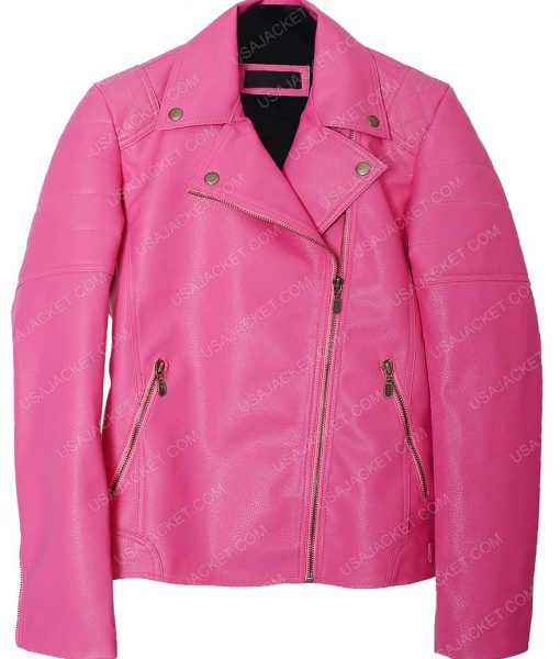 Womens Pink Faux Quilted Leather Jacket