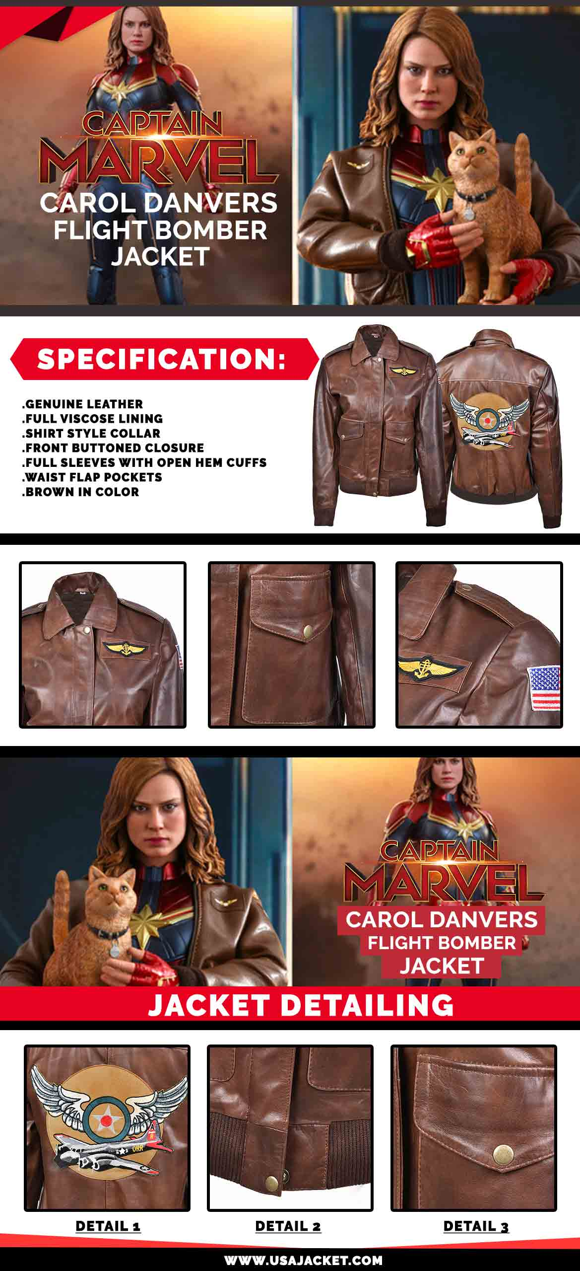 3d02a473460 Captain Marvel Carol Danvers Flight Bomber Jacket (Free T- Shirt)