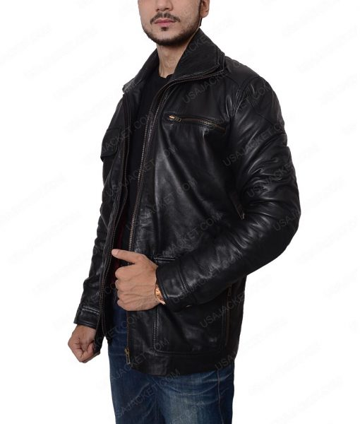 Reggie Green Black Leather Jacket