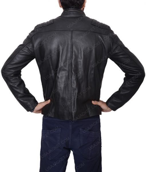 Chuck Clayton Jordan Calloway Black Cafe Racer Leather Jacket