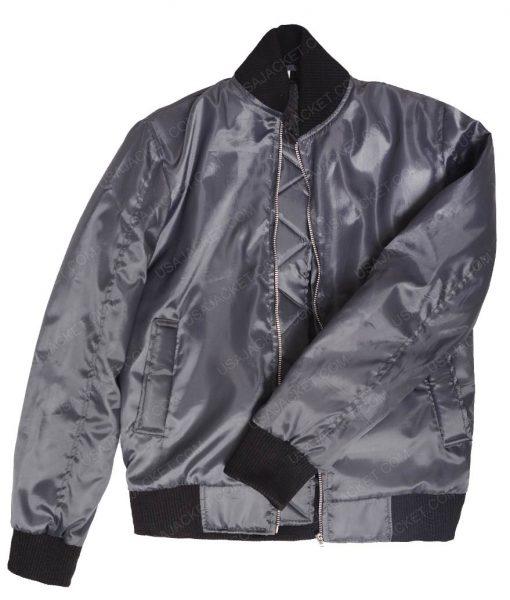 Kim Kardashian Slimfit Satin Black Bomber Jacket