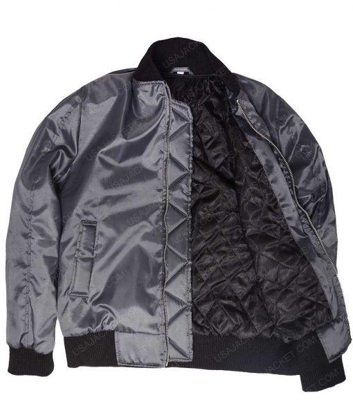 Kim Kardashian Satin Black Bomber Jacket