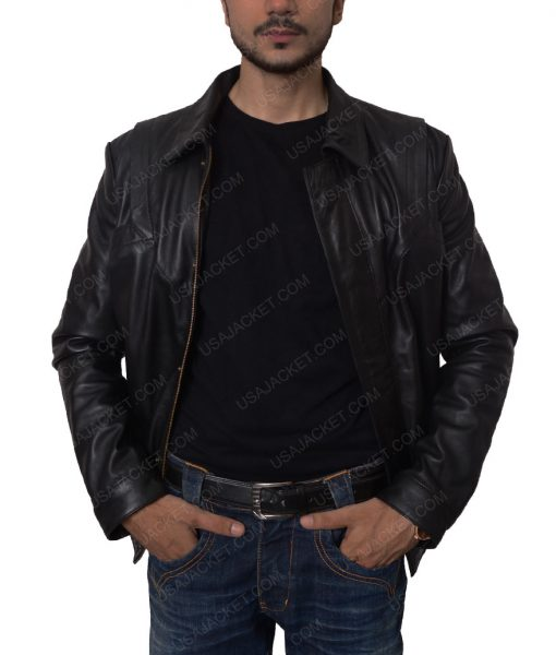 Knight Rider David Hasselhoff Black Leather Jacket
