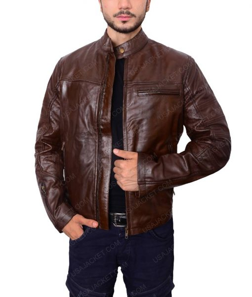 Ronin Roland Sands Brown Cafe Racer Leather Jacket