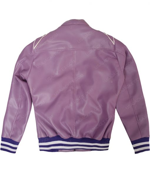 Womens Puprle Bomber Leather Jacket