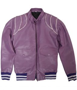 Womens Purple Two Pocket Bomber Leather Jacket