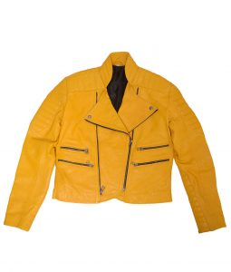 Yellow Quilted Leather Biker Jacket For Womens