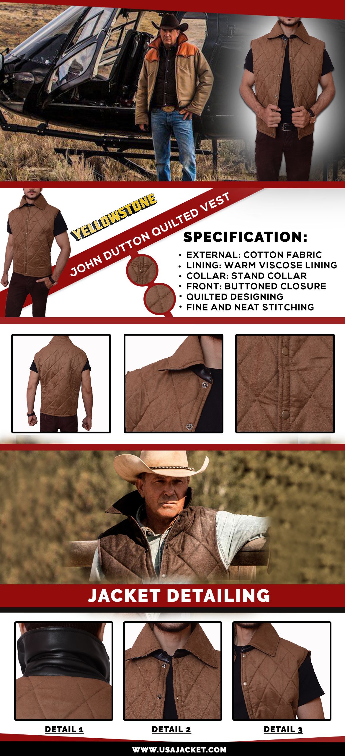 Yellowstone John Dutton Quilted Vest Infographic