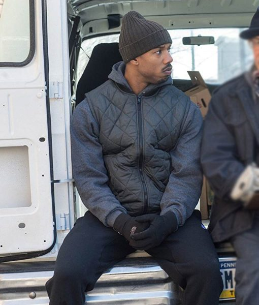 Michael B. Jordan Creed Adonis Johnson Grey Quilted Vest