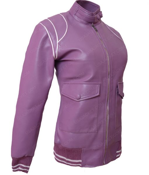 Ruth Wilder Glow Alison Brie Purple Bomber Jacket