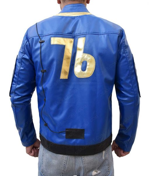 Video Game Blue Slimfit Leather Jacket