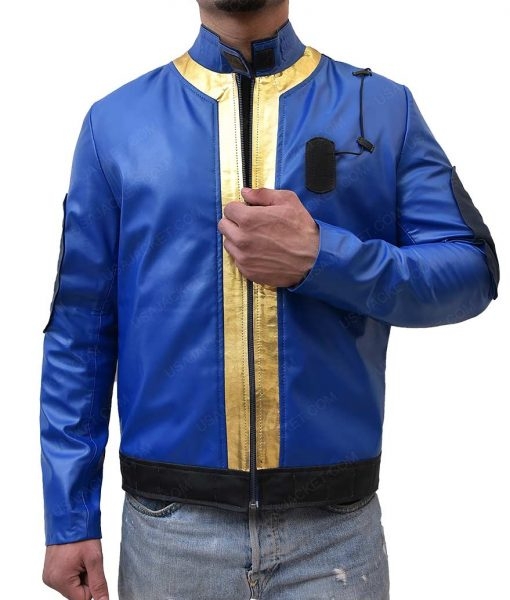 Fallout 76 Video Game Blue Leather Jacket