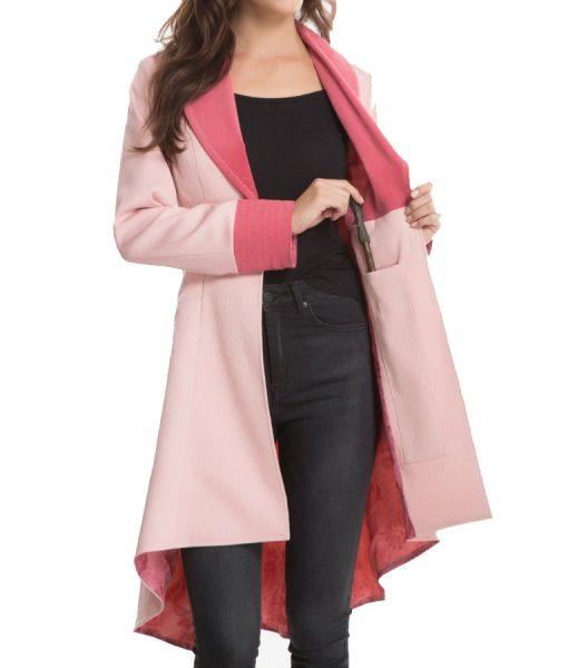 Alison-Sudol-Pink-Long-Jacket