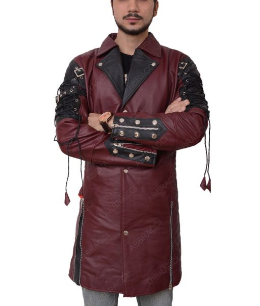 Goth Matrix Steampunk Gothic Maroon Trench Coat
