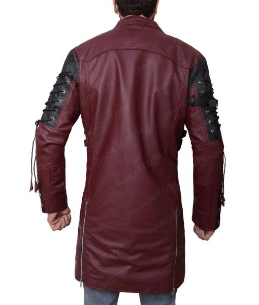 Goth Matrix Steampunk Gothic Maroon Leather Coat
