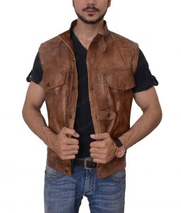 Grant Bowler Defiance Brown Leather Vest