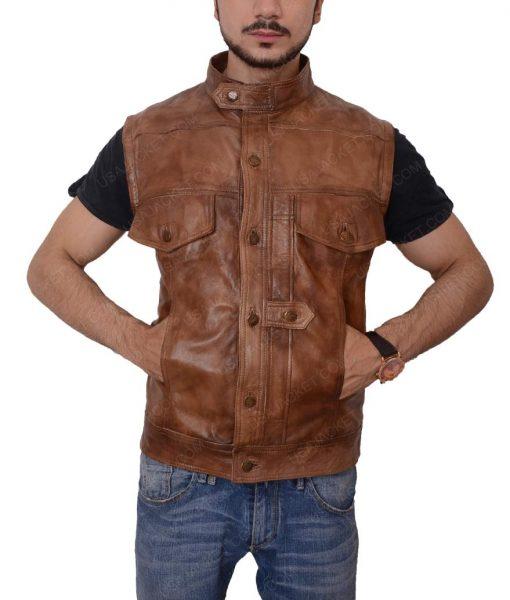 Grant Bowler Defiance Slimfit Leather Vest