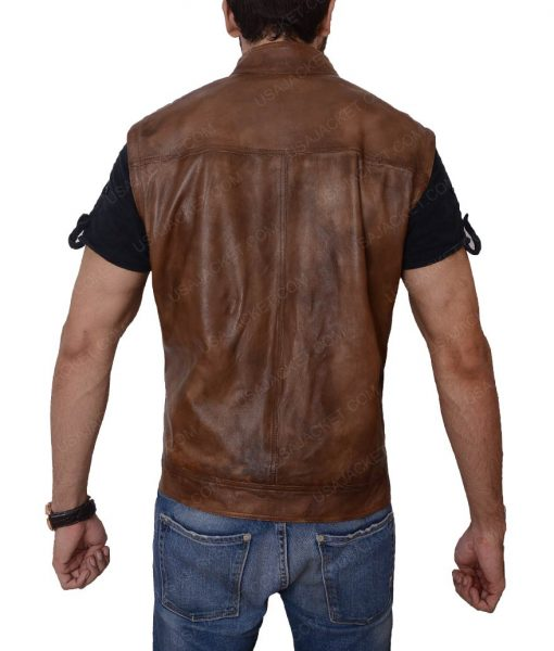 Grant Bowler Defiance Slimfit Brown Leather Vest