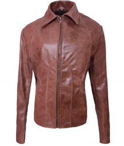 Womens Slimfit Jennifer Lopez Brown Leather Jacket