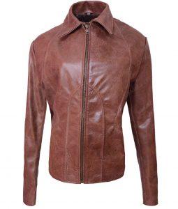 Womens Slimfit Jennifer Lopez Brown Leather Jacket