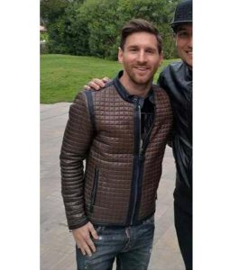 Lionel Messi Brown Quilted Slimfit Jacket