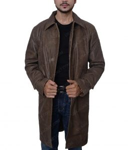 Donald Pierce Logan Boyd Holbrook Leather Long Coat