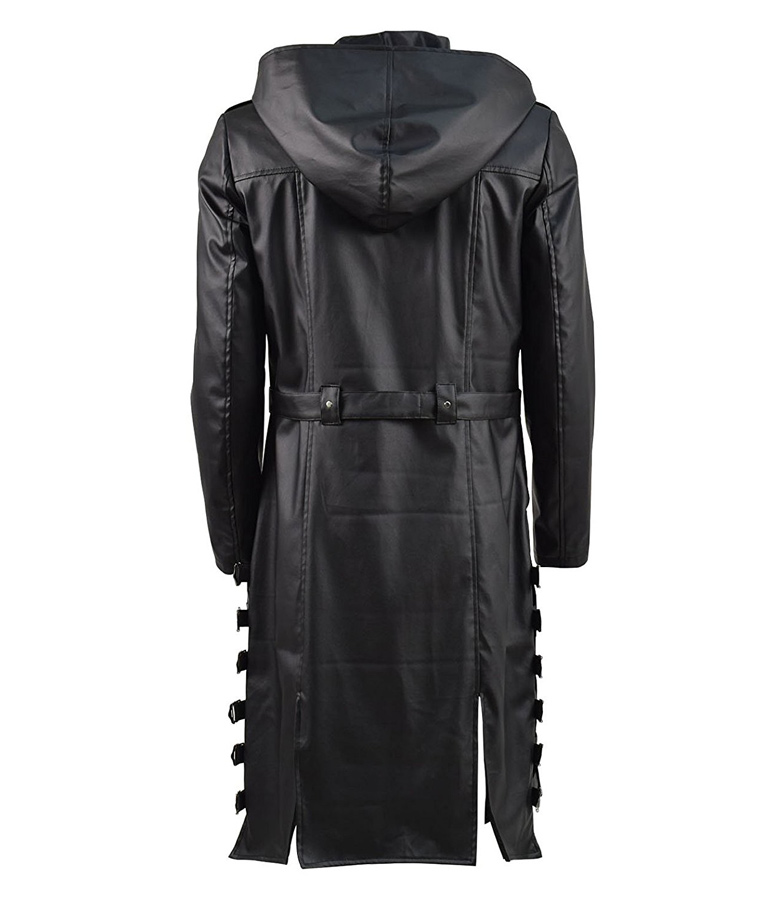 afa0be5f9 PUBG Leather Hooded Trench Coat