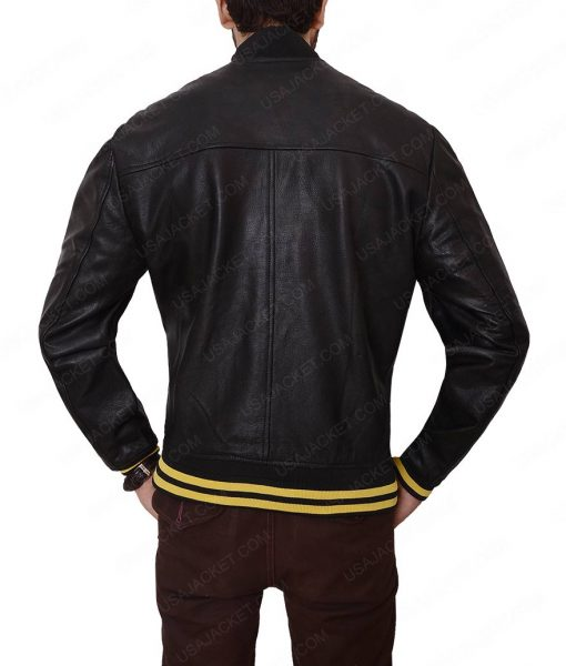 Mens Black Cafe Racer Leather Jacket