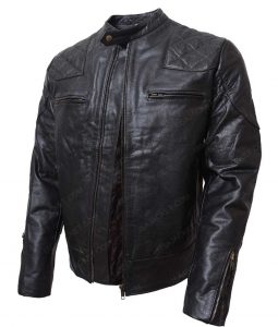 Mens Black Slimfit Cafe Racer Leather Jacket