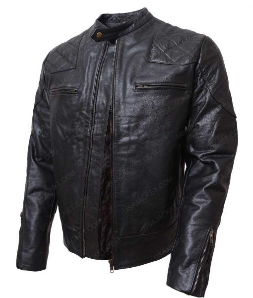 Mens Black Slimfit Leather Jacket