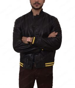 Mens Black Slimfit Cafe Racer Bomber Leather Jacket