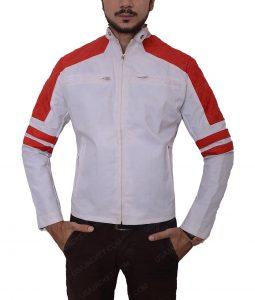 Mens Red Slimfit Leather Jacket