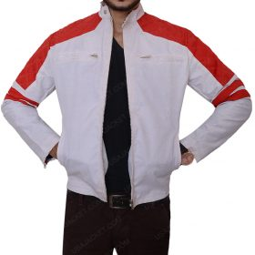 Mens Red Detailed Leather Jacket