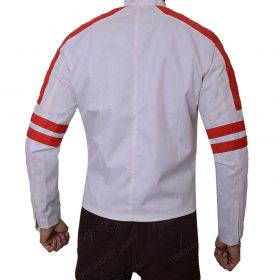 Mens Red Detailed Slimfit Leather Jacket