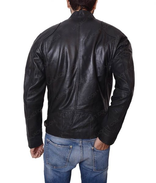 Mens Slimfit Café Racer Black Jacket