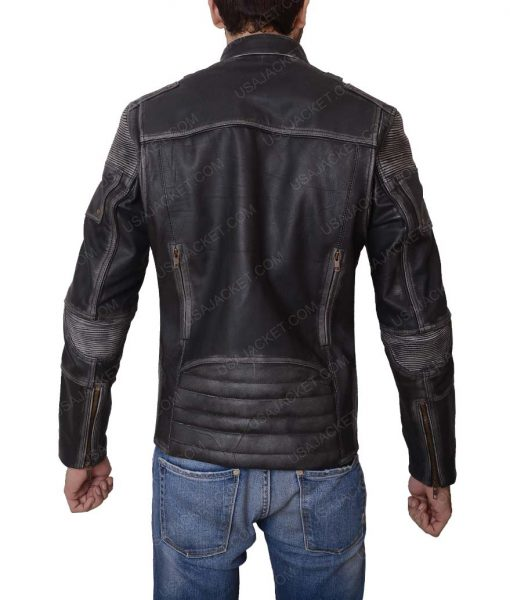 Mens Slimfit Casual Black Leather Jacket