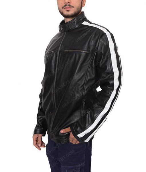 Mens White Stripe Black Leather Jacket