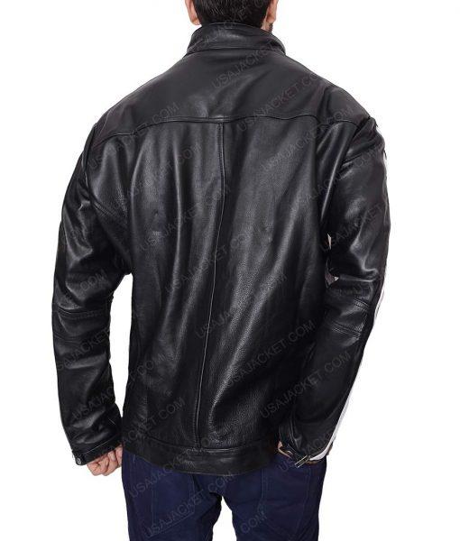 Mens White Stripe Cafe Racer Black Motorcycle Jacket