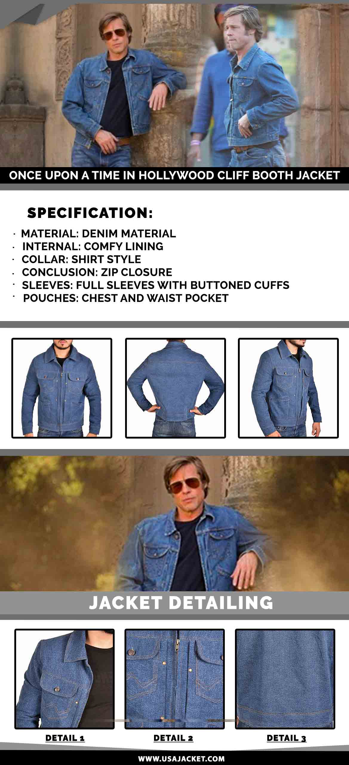 Once Upon A Time In Hollywood Cliff Booth Jacket Infogrphy