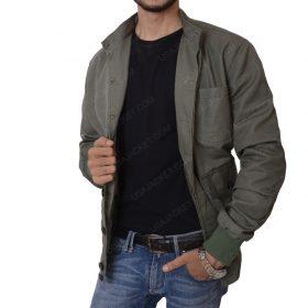 Sean Penn The Gunman Film Terrier Green Cotton Bomber Jacket