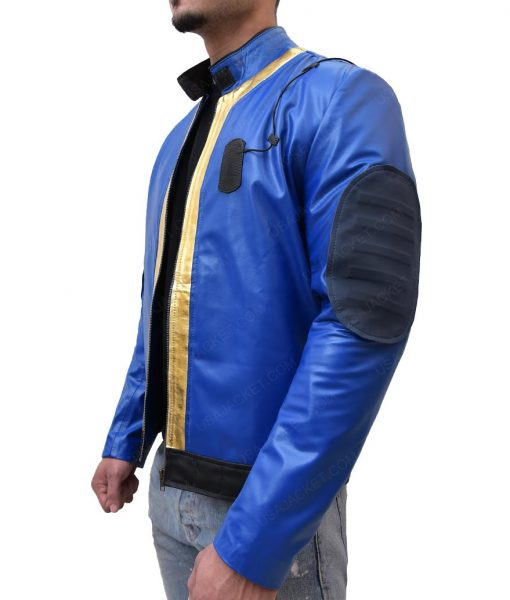 Fallout 76 Video Game Blue Slimfit Leather Jacket
