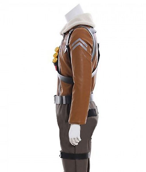 Video Game Fortnite Raptor Fur Collar Brown Leather Jacket
