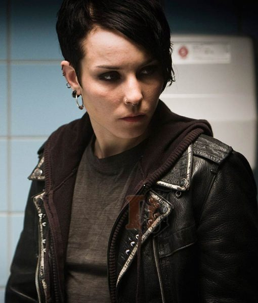 Girl with Dragon Tattoo Black Leather Jacket
