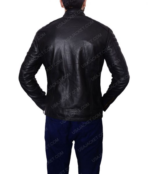 Malcolm Merlyn Arrow S4E8 John Barrowman Black Café Racer Jacket