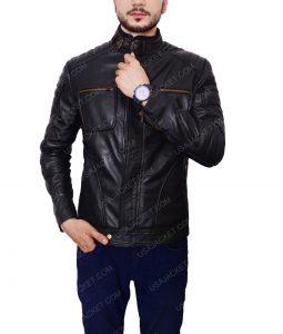 Arrow S4E8 Merlyn Black Cafe Racer Leather Jacket