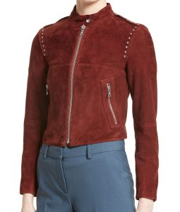 Willa-Holland-Arrow-S5E22-Red-Suede-Leather-Jacket