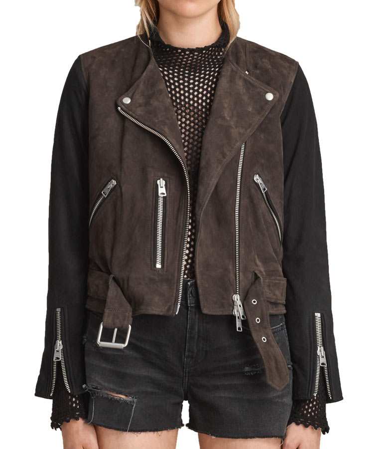 fe8102dd46 Katie Cassidy Arrow Motorcycle Suede Leather Black Jacket