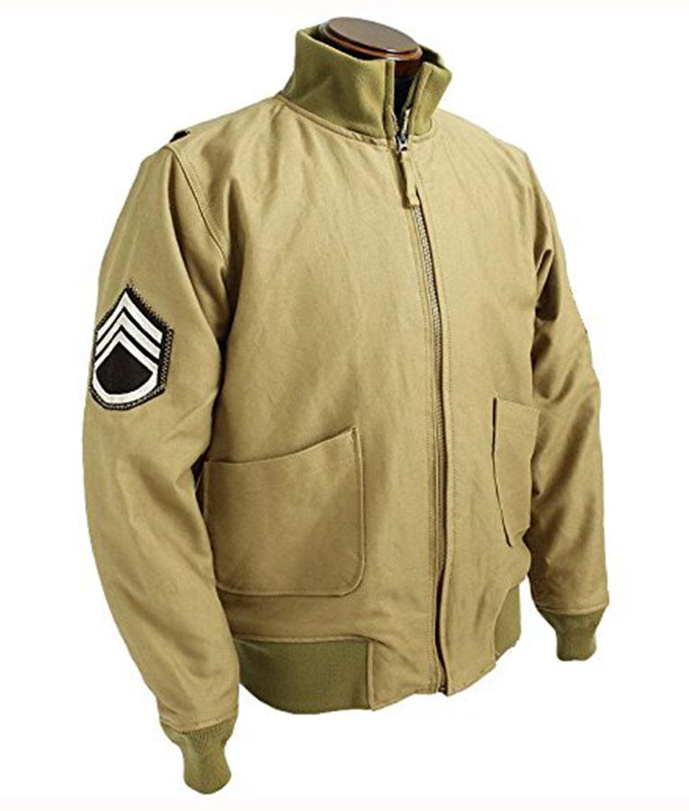 Brad Pitt Fury WW2 Tanker Khaki Military Bomber Jacket