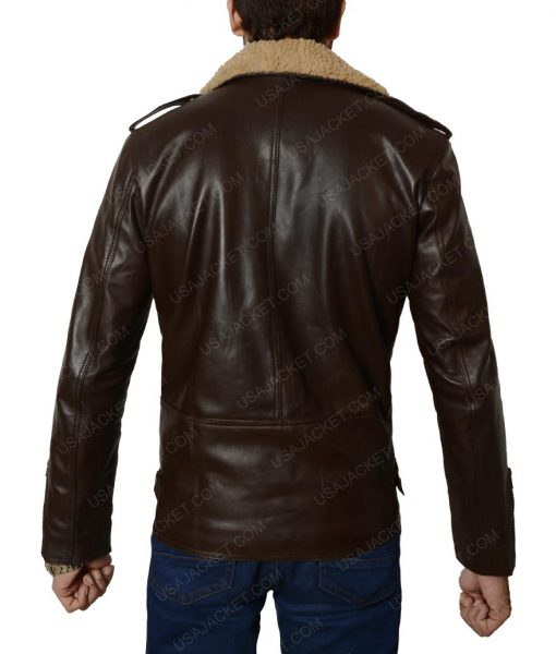 Harry Styles Brown Leather Motorcycle Jacket