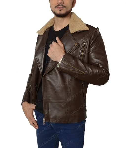 Harry Styles Fur Collar Brown Leather Jacket